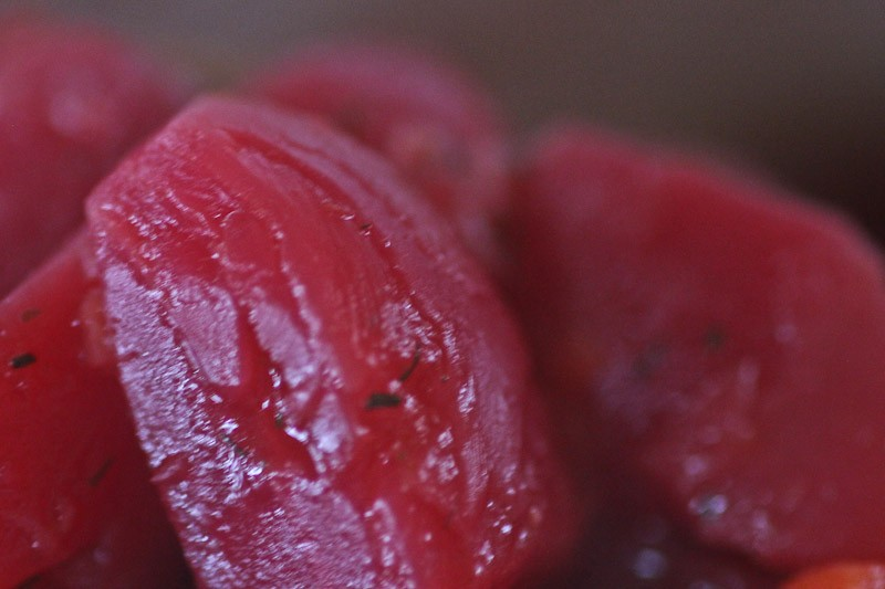 precooking your beets to retain bright color